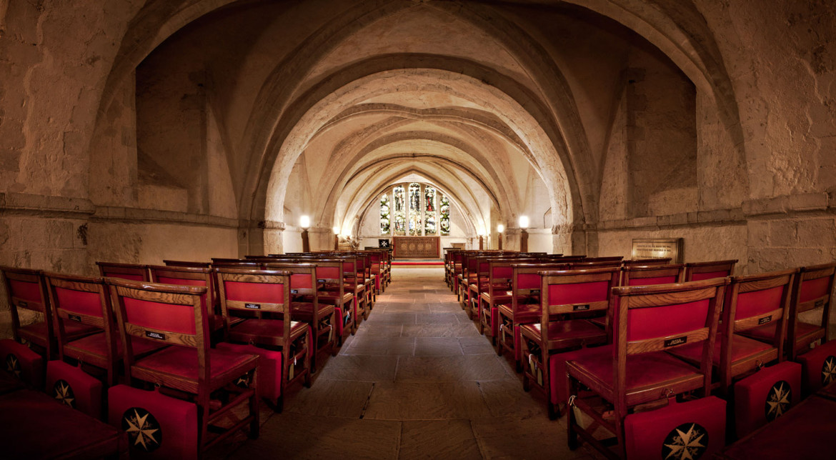 View of the interior of the Crypt of the Priory Church of the Order of St John