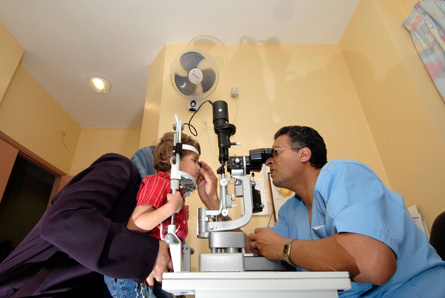 A patient receiving treatment at the St John Eye Hospital, Jerusalem