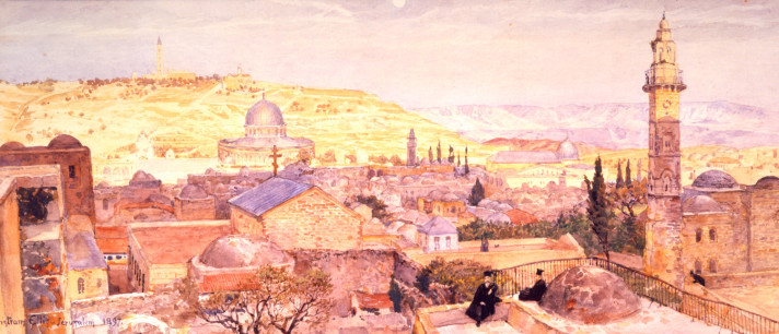 A panoramic view of Jerusalem, looking towards the Dome of the Rock, with the Mount of Olives in the distance, by Tristram Ellis, watercolour on paper, 1897