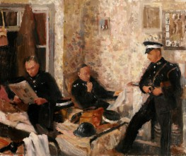 Oil painting depicting three St John Ambulance volunteers at a First Aid Post in the Second World War, by Rupert Shephard, 1940
