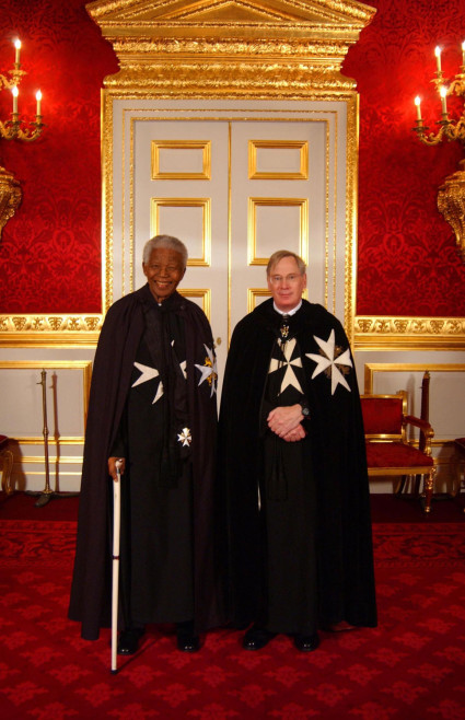 HRH The Duke of Gloucester, Grand Prior of the Order of St John, with Nelson Mandela, Bailiff Grand Cross of the Order