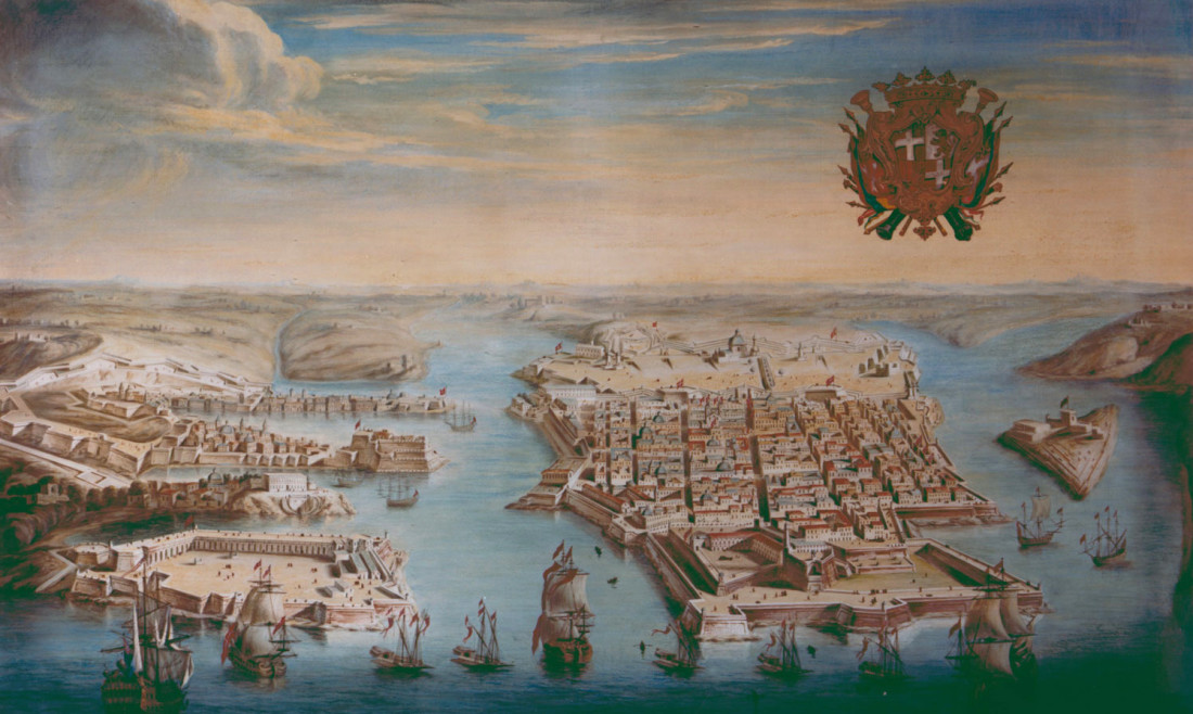 A View of the Grand Harbour, Valletta, by Joseph Goupy, watercolour on paper, 1730