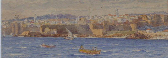 A view of the fortifications of the island of Rhodes, from the sea, watercolour on paper, by Tristram Ellis, c.1900