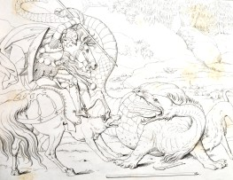 An image of Gozon fighting a dragon on horseback.