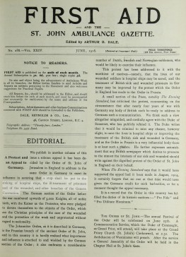 "The June 1918 edition of the ""FIRST AID "" magazine"