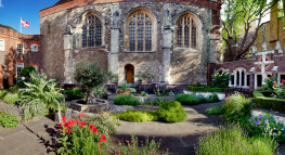 """View of the Cloister Garden and Medieval Church wall"""""""