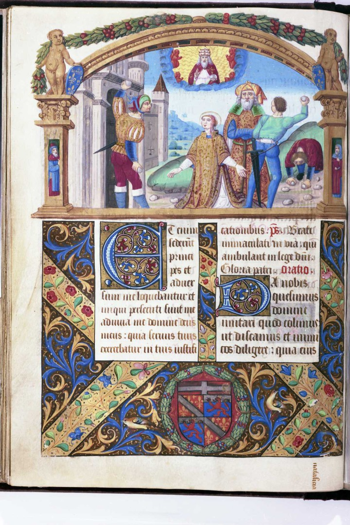 An illuminated page of a manuscript with a main image in a cartouche at the top with five figures outside a castle, with writing and decoration below.