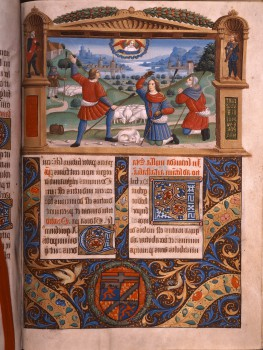 An illuminated manuscript with three shepherds and a flock of sheep in a cartouche at the top of the page, and script and decoration below.