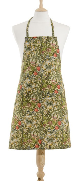 An apron with folaite and floral William Morris design