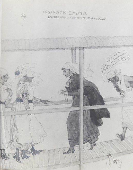 'Extremes meet on the gangway', reproduced by kind permission of Veronica Nisbet's family