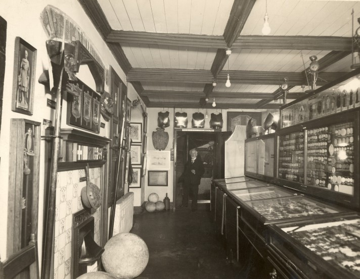 The first Museum room, with Henry Fincham in the doorway