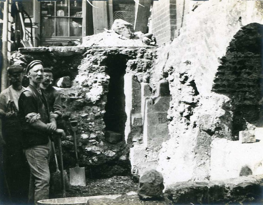 Excavations in front of the Church, late 19th century