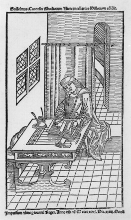woodcut illustration of Guillaume Caoursin writing his history
