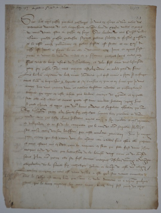 Fabrizio del Carretto's letter to the king of France in 1517