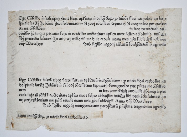 Indulgence forms for the defence of Rhodes printed in Augsberg in 1480