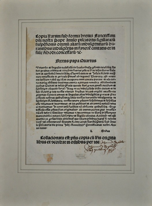 Pope Sixtus' letter of indulgence for the defence of Rhodes, printed in Speyer on 1480