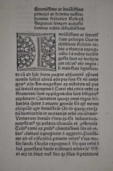 Pierre d'Aubusson's letter to Emperor Frederick III, printed in Strasbourg in 1480