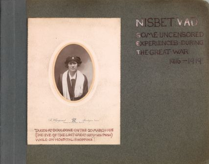Opening page of Veronica Nisbet's scrapbook, reproduced by kind permission of her family.