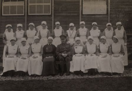 Matron Todd and Colonel Trimble with some of the VADs outside the St John Ambulance Brigade Hospital Étaples ©MOSJ