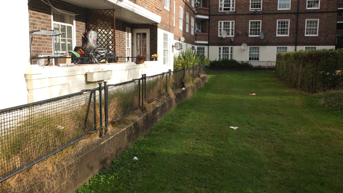 Stretchers still in-situ as railings at the Kennington Park Estate, London.
