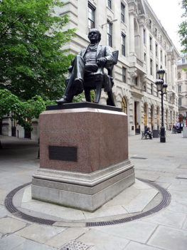 A statue of George Peabody located at Threadneedle Street London.