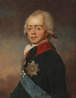 "ALT=""Portrait of Tsar Paul I wearing a black jacket with a blue sash, with eight pointed cross hanging on front"""