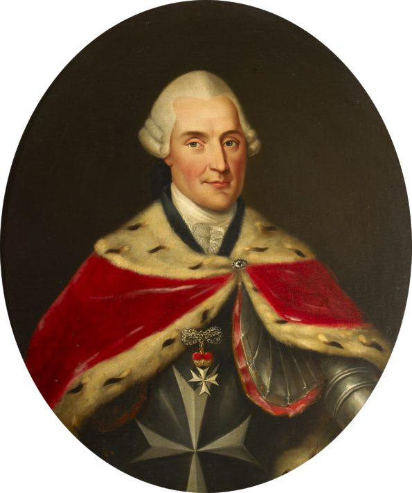 "ALT=""Man in red mantle with fur lining over armour with Order symbol, eight-pointed cross hangs over chest"""
