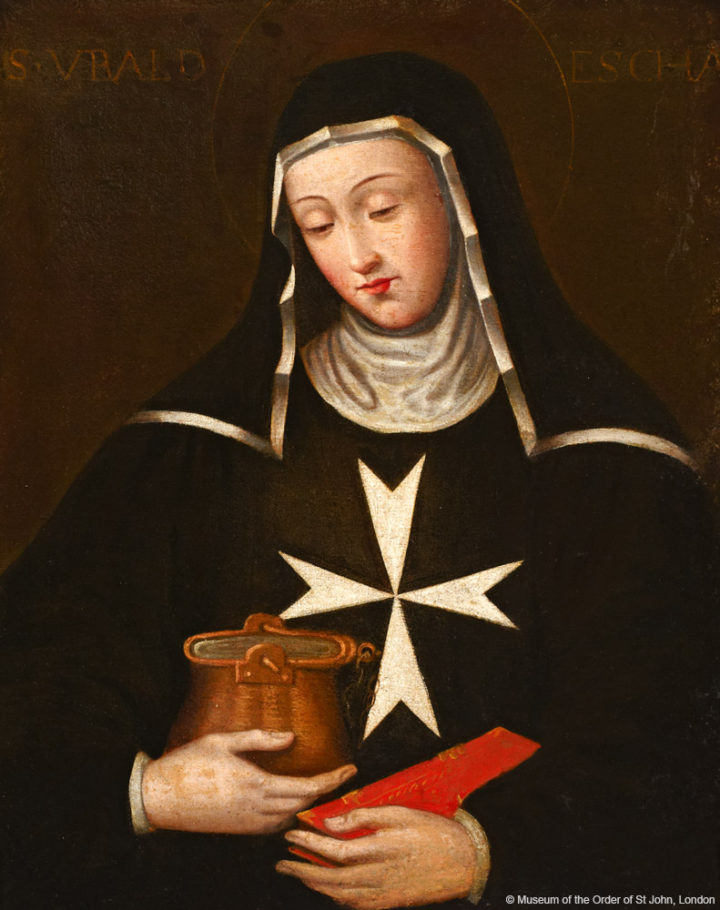 """ALT=""""painting of nun in black hood and tunic with white eight-pointed cross on chest, holding chafing bowl and book"""""""