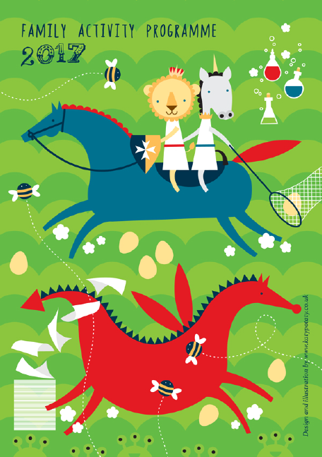 Front of 2017 Family Activity Flyer featuring Furley the lion and Victoria the unicorn as well as dragons, knights, aliens and potion bottles