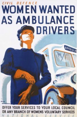 Poster calling for women to help drive ambulances, design is stylised drawing of a woman in blue uniform and hat putting on gloves as she stands by an ambulance""