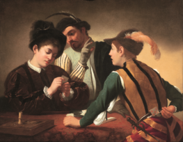 """ALT=""""painting by Caravaggio of three men at a table, two playing cards while the third secretly signals to his accomplice, who is hiding cards behind his back"""""""