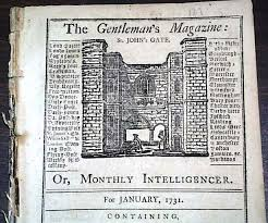 "ALT=""Front page of the first edition of the Gentleman's Magazine 1731"""