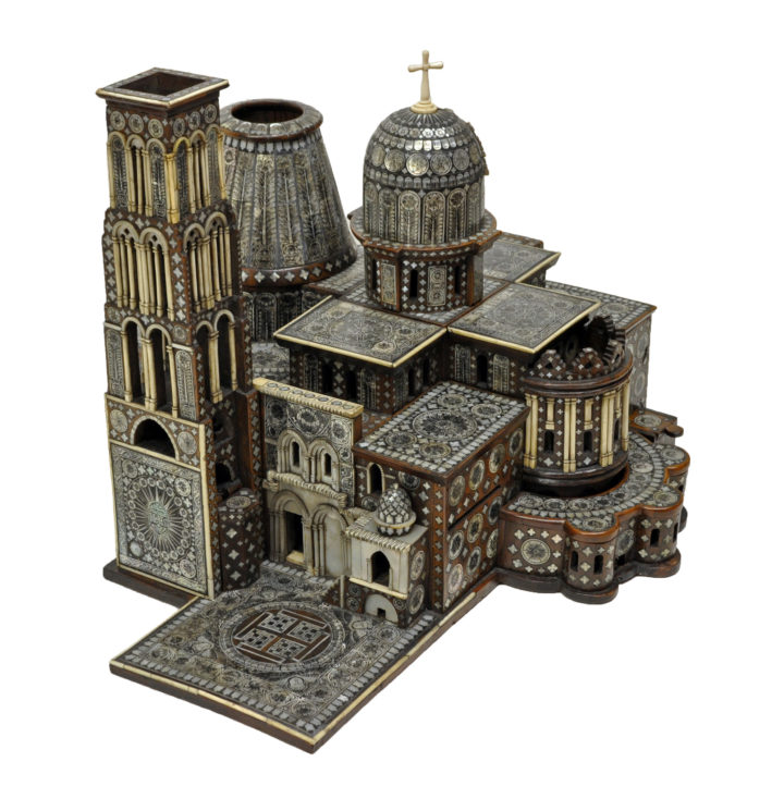 a wooden model of the Church of the Holy Sepulchre in Jerusalem, decorated with ivory and mother of pearl inlay.