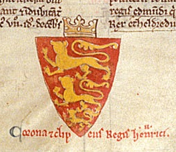 Coat of arms featuring three lions on an illuminated manuscript.