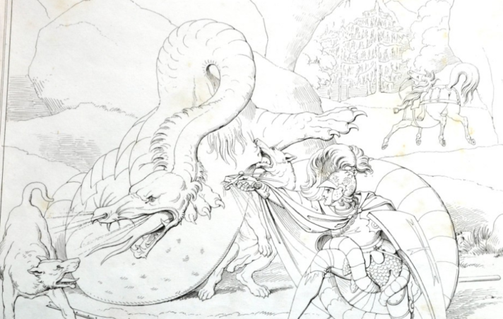 Illustration of a knight fighting a dragon.