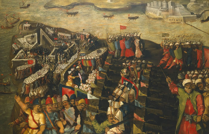 "ALT=""painting of Ottoman forces attacking Maltese fortifications"""
