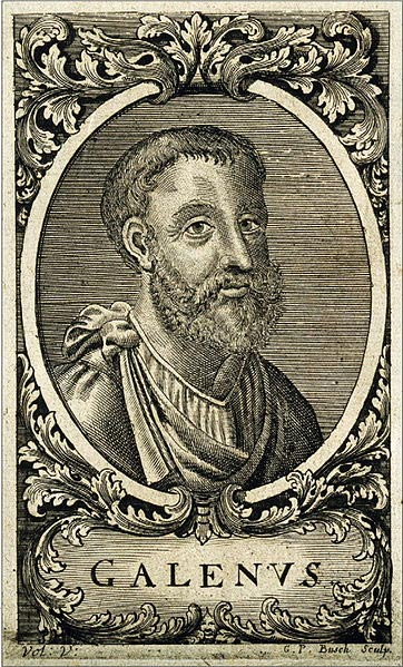 Photographic reproduction of an 18th century engraving of Galen of Pergamum (c. 130-200 A.D),