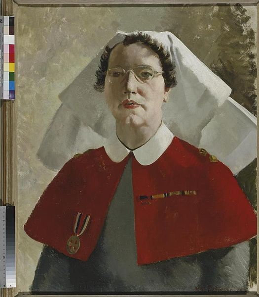 Painting of Miss S Wade Rrc- Principal Matron at British General Hospital, 1945 . Artist, Doris Zinkeisen