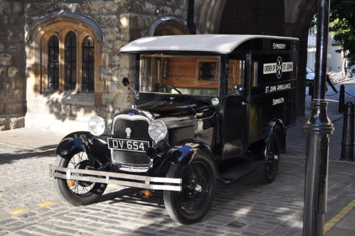 The restored Ambulance called Sympathy parked outside St John's Gate