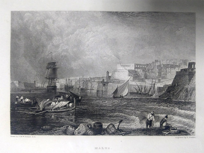 Edward Finden's engraving of Valletta harbour, based on a study by JMW Turner