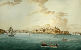 Watercolour painting by Charles Brocktorff showing Malta from the sea