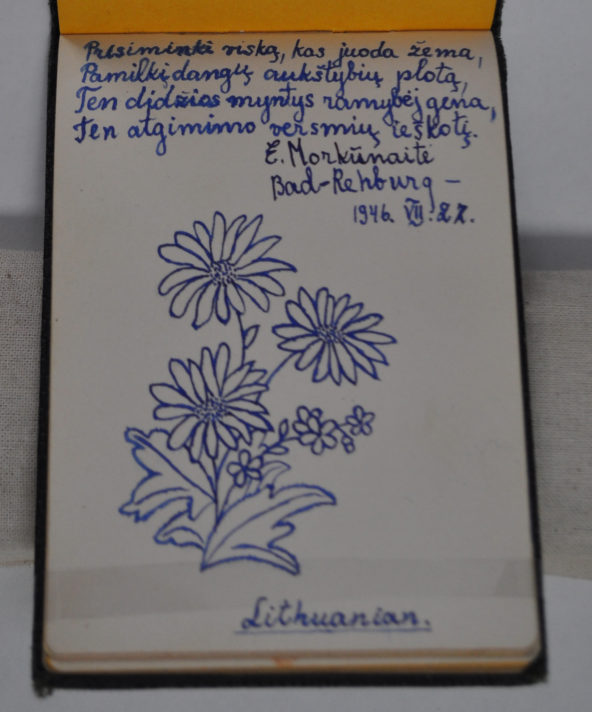 Page in autograph notebook with a small message written in Lithuanian and pen drawing of three large sunflowers and a stem of smaller flowers with leaves at the bottom of the bunch.