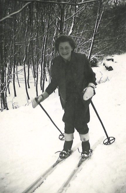 Susie spending her free time skiing in the snow in Germany. 7th March 1946.