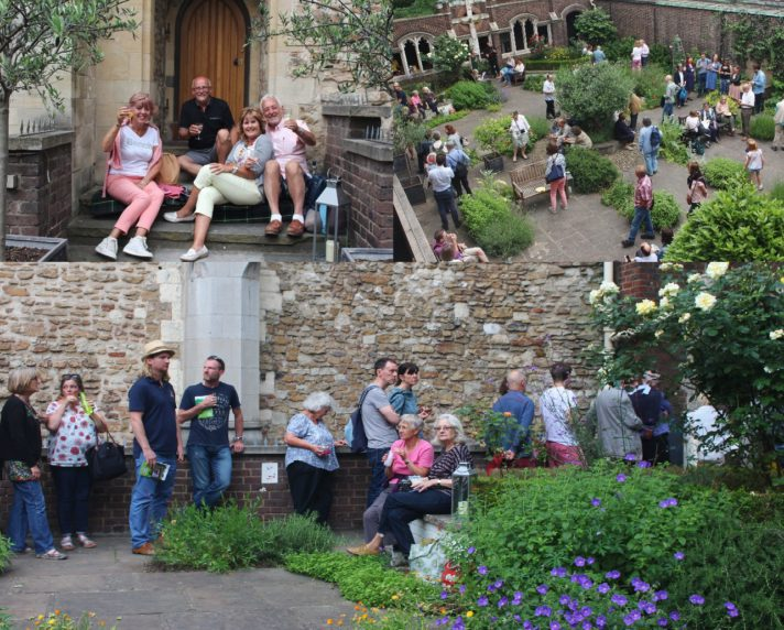 People in the Cloister Garden