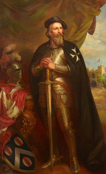 Painting of Thomas Docwra infront of a curtain with St john's gate in the background