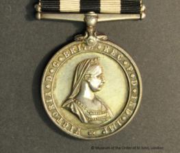 A St John service medal showing Queen Victoria's portrait
