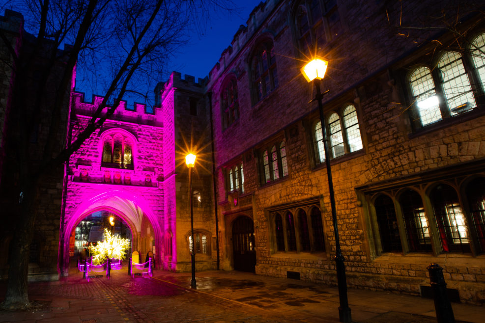 St John's Gate illuminated for Valentine's Day. Photography by Lucy J Toms.