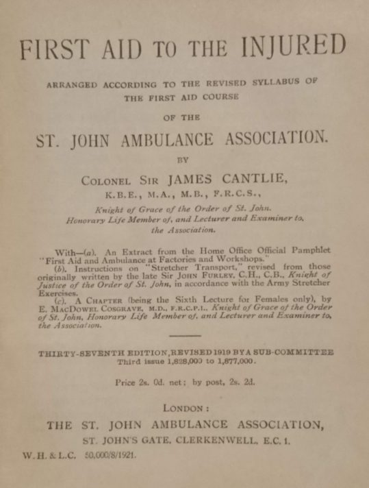 Title page of 37th Edition of First Aid for the Injured