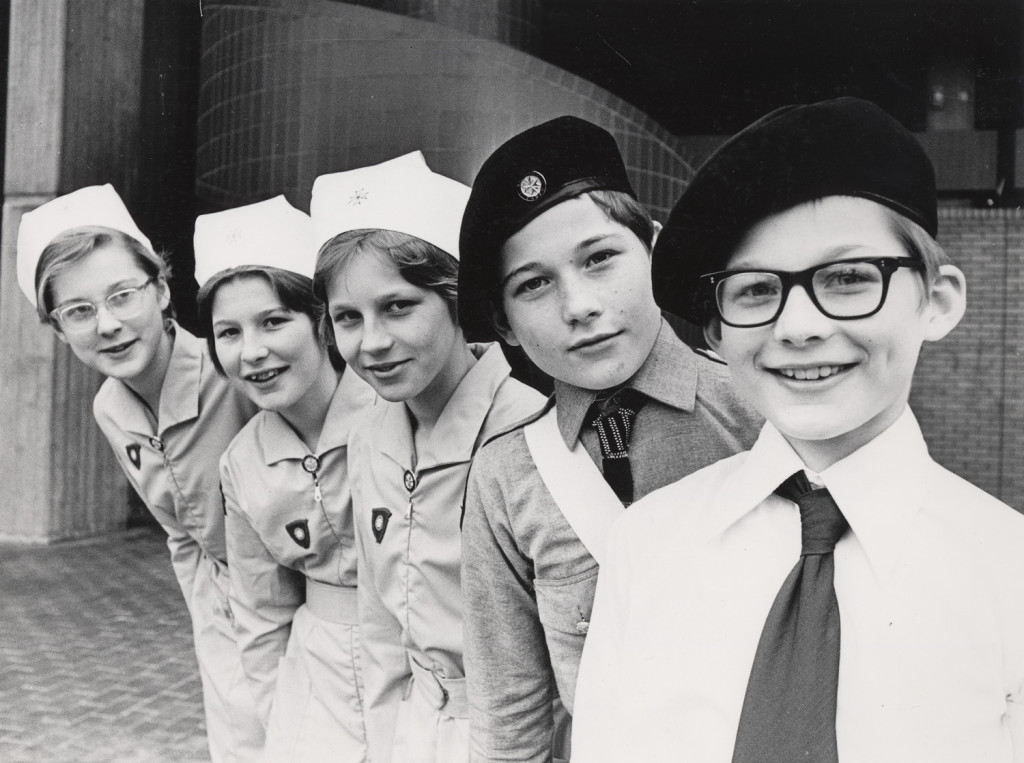 Black and white photograph of three girls and two boys in St John Ambulance Cadet uniforms