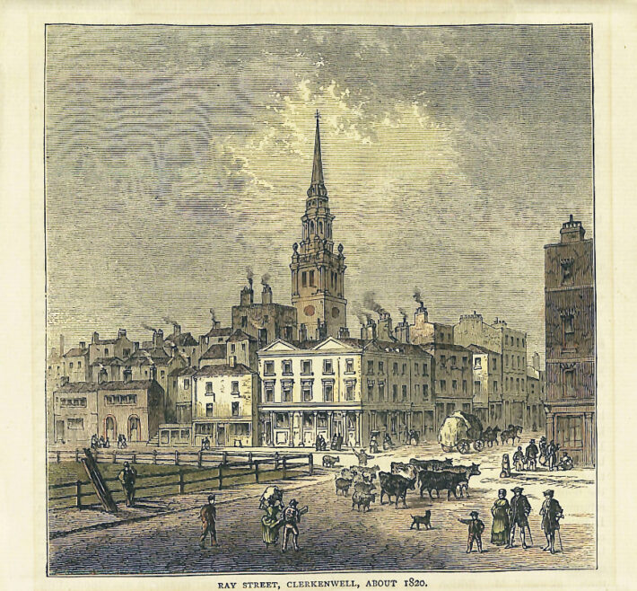 Ray Street, Clerkenwell, about 1820. Unknown Artist, from the Museum's Collections